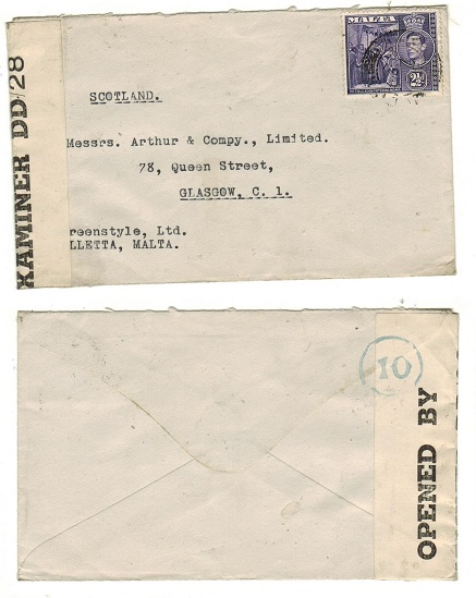 MALTA - 1944 2 1/2d rate censor cover to UK used at VALLETTA.