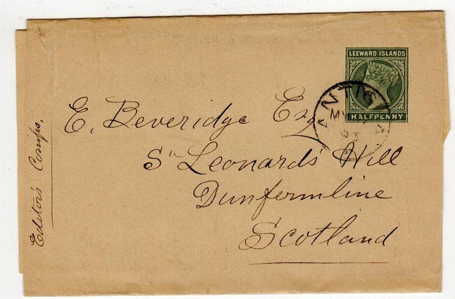 ANTIGUA - 1891 1/2d green postal stationery wrapper to UK.  H&G 1.