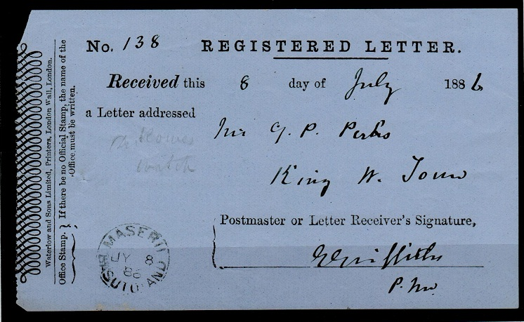BASUTOLAND - 1886 REGISTERED LETTER RECEIPT cancelled at MASERU/BASUTOLAND.