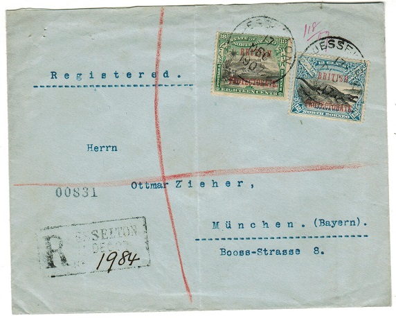 NORTH BORNEO - 1907 30c rate registered cover to Germany used at JESSELTON.