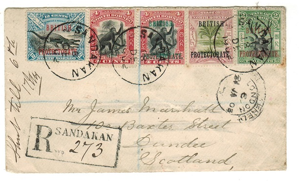 NORTH BORNEO - 1902 25c registered cover to UK used at SANDAKAN.