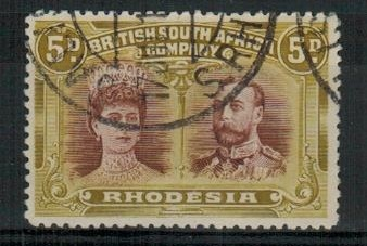 RHODESIA - 1910 5d purple brown and olive yellow fine used.  SG 141a.