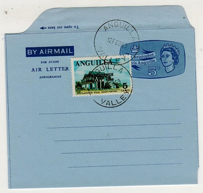 ANGUILLA - 1969 philatelic use of St.Kitts 5c air letter uprated with 5c