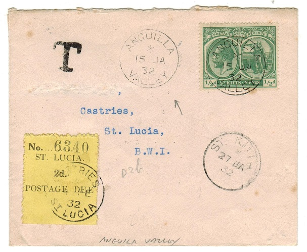 ANGUILLA - 1932 underpaid cover to St.Lucia with 2d