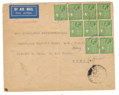 MALTA - 1934 4 1/2d rate cover to Italy cancelled by violet AIR MAIL/MALTA cancels.