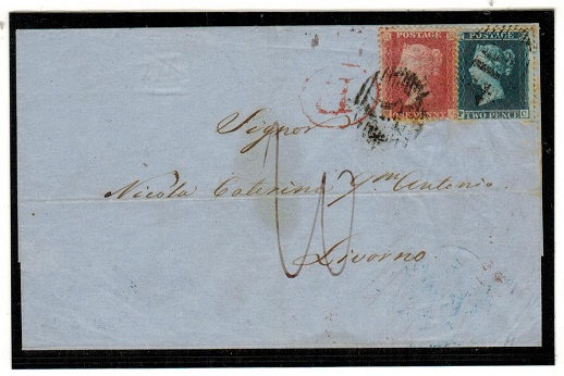 MALTA - 1858 3d rate outer wrapper to Italy cancelled by grilled