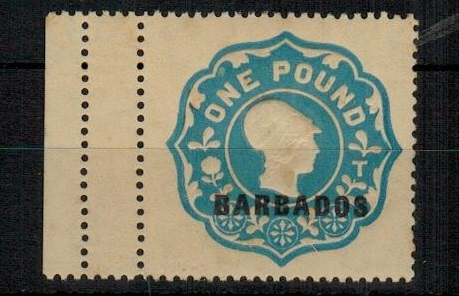 BARBADOS - 1923 £1 blue embossed REVENUE adhesive mint.