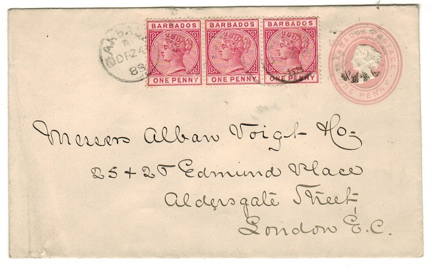 BARBADOS - 1882 1d pink uprated PSE to UK.  H&G 1.