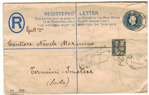MALTA - 1912 2d blue RPSE to Italy uprated with 4d adhesive.