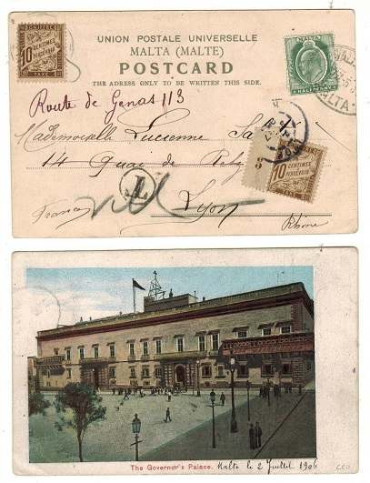MALTA - 1906 underpaid postcard to France with two 10c brown