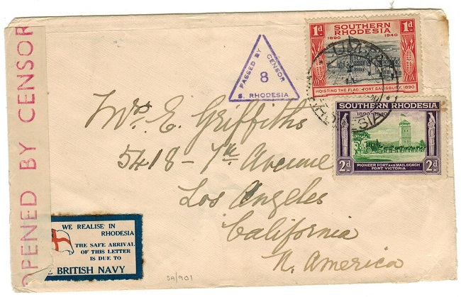 SOUTHERN RHODESIA - 1940 (circa) WE REALISE IN RHODESIA patriotic labelled censor cover to USA.