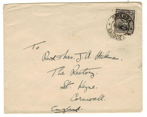 SOUTHERN RHODESIA - 1926 2d rate cover to UK used at GWANDA.