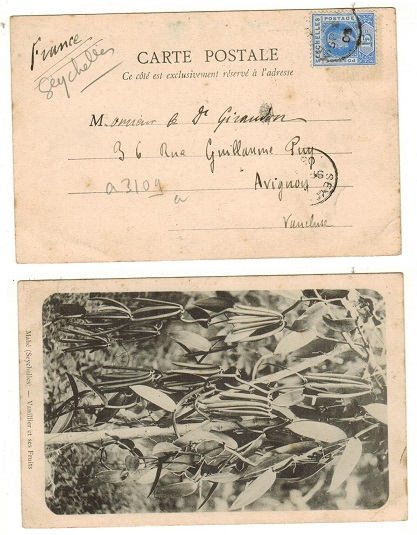 SEYCHELLES - 1903 15c rate postcard use to France.