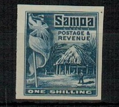 SAMOA - 1921 1/- IMPERFORATE PLATE PROOF in blue.