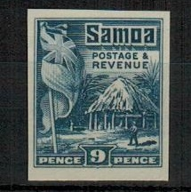 SAMOA - 1921 9d IMPERFORATE PLATE PROOF in blue.