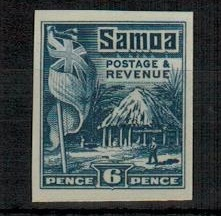 SAMOA - 1921 6d IMPERFORATE PLATE PROOF in blue.