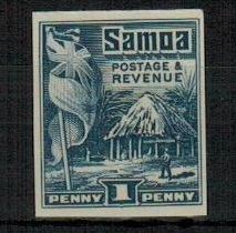 SAMOA - 1921 1d IMPERFORATE PLATE PROOF in blue.