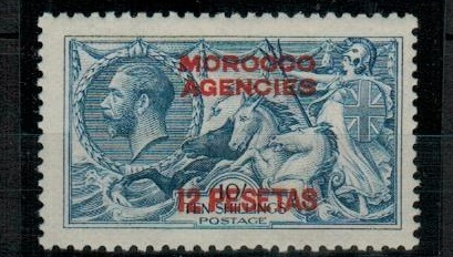 MOROCCO AGENCIES - 1914 12p on 10/- blue fine mint.  SG 141.