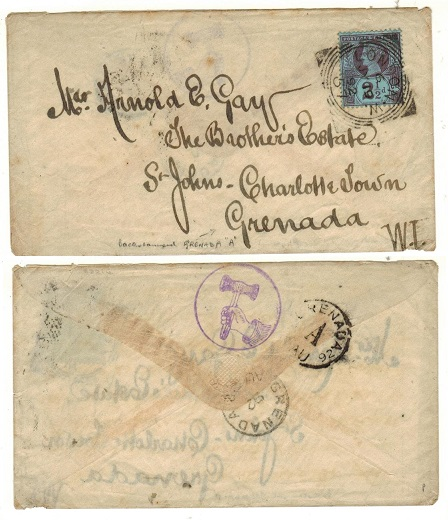 GRENADA - 1892 inward cover from UK with GRENADA/A parish arrival b/s.