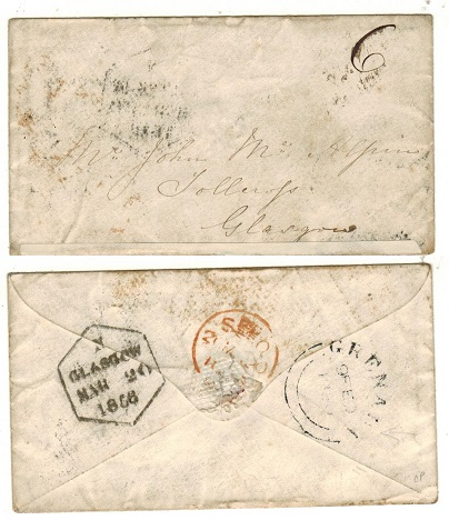 GRENADA - 1856 stampless cover to UK with double arc GRENADA b/s.