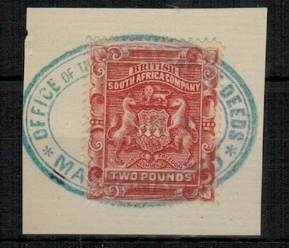 RHODESIA - 1895 revenue use of £2 rose-red (SG 11) at MASHONALAND.