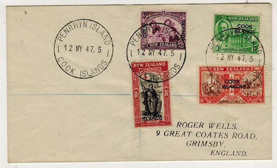 PENRHYN - 1947 cover addressed to UK bearing Cook Island