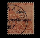 BECHUANALAND - 1885 3d pale claret (SG 2) used at KENHART in the Cape.