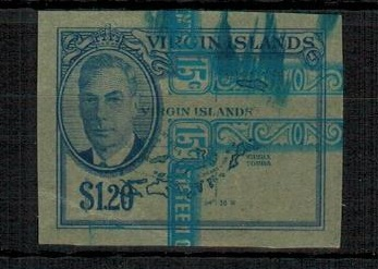 BRITISH VIRGIN ISLANDS - 1952 $1.20 IMPERFORATE PLATE PROOF.
