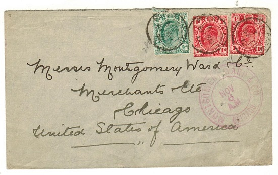 CAPE OF GOOD HOPE - 1912 cover to USA with Transvaal 1/2d and 1d (x2) used at MOUNT FRERE.