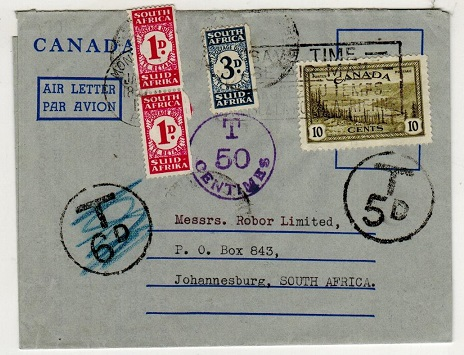 SOUTH AFRICA - 1947 inward under paid air letter with