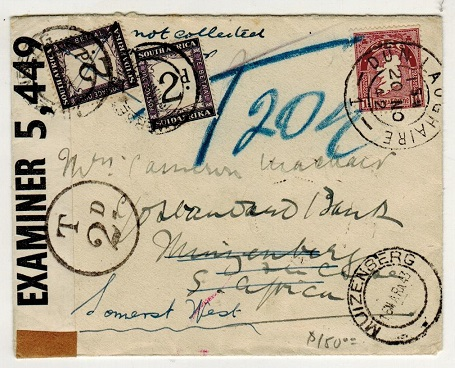SOUTH AFRICA - 1942 inward under paid cover from Ireland with 2d (x2)