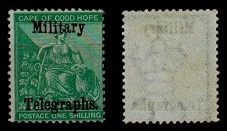 BECHUANALAND - 1885 Cape 1/- green unused overprinted MILITARY TELEGRAPHS.
