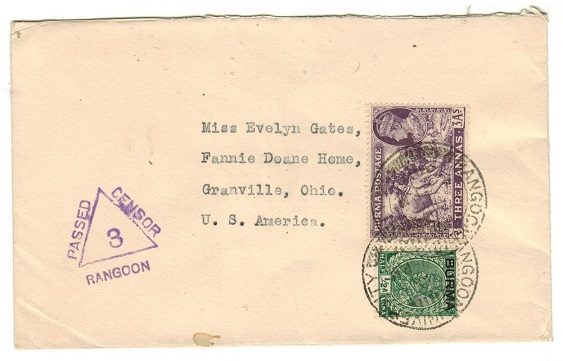 BURMA - 1939 3 1/2a rate censor cover to USA used at RANGOON UNIVERSITY.
