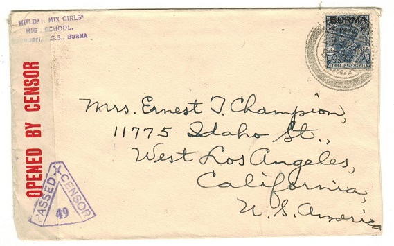 BURMA - 1941 3a6p rate censor cover to USA used at TONGYI.