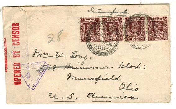 BURMA - 1941 4a rate censor cover to USA used at INSEIN.