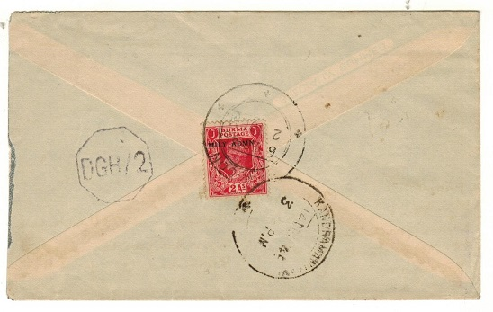 BURMA - 1945 2a rate censor cover to India used at RANGOON.