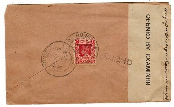 BURMA - 1945 2a rate censor cover to India used at BURMA/EXPTL.P.O.No.4.