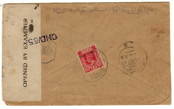BURMA - 1945 2a rate censor cover to India used at BURMA/EXPTL. PO.