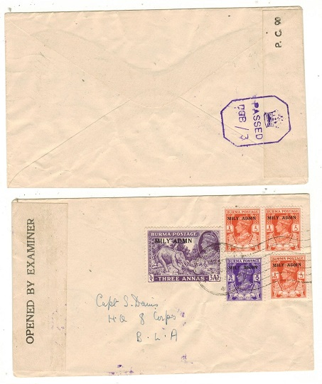 BURMA - 1945 3a6p rate local censor cover used at RANGOON.