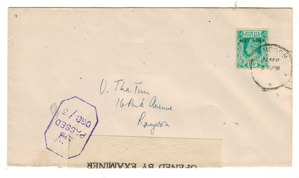 BURMA - 1945 1a rate local censor cover used at RANGOON.