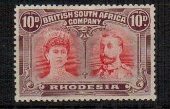 RHODESIA - 1910-13 10d scarlet and reddish mauve