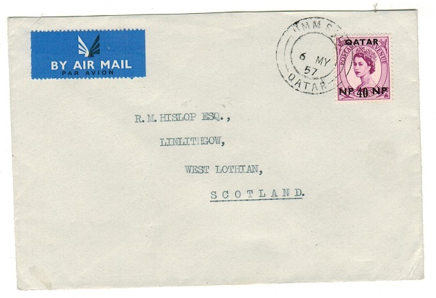 BR.PO.IN EA (Qatar) - 1957 40np rate cover to UK used at UMM SAID/QATAR.