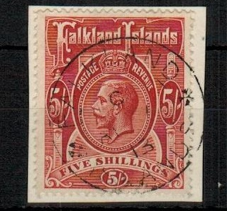 FALKLAND ISLANDS - 1912-20 5/- deep rose red tied to piece by FALKLAND ISLANDS cds. SG 67.