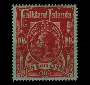 FALKLAND ISLANDS - 1914 10/- red on green mint.  SG 68.