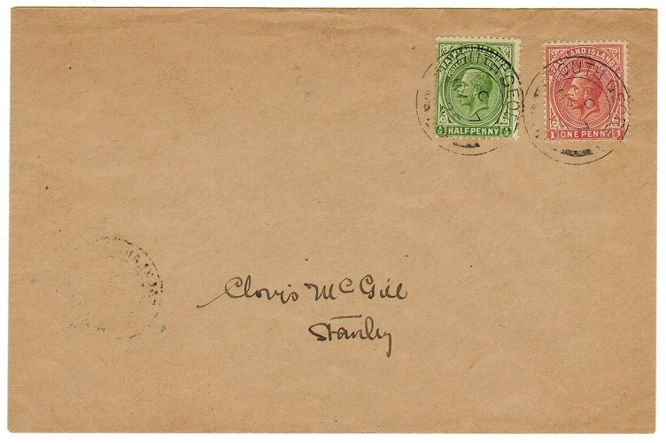 FALKLAND ISLANDS - 1925 1 1/2d rate local cover to Stanley used at SOUTH GEORGIA.