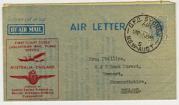 Australia - 1945 7d blue air letter used on Qantas first flight to UK.