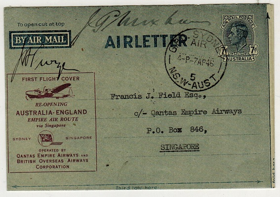 AUSTRALIA - 1946 7d blue air letter used on the Qantas first flight to Singapore. Pilot signed.
