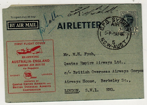 AUSTRALIA - 1946 7d blue air letter used on the Qantas first flight to UK. Pilot signed.