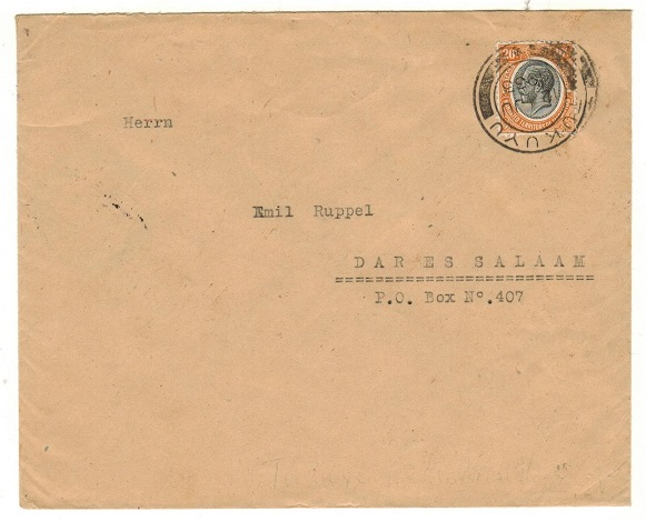 TANGANYIKA - 1935 25c rate local cover used at TUKUYU.