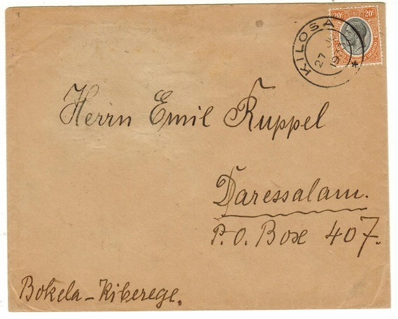 TANGANYIKA - 1933 25c rate local cover used at KILOSA.